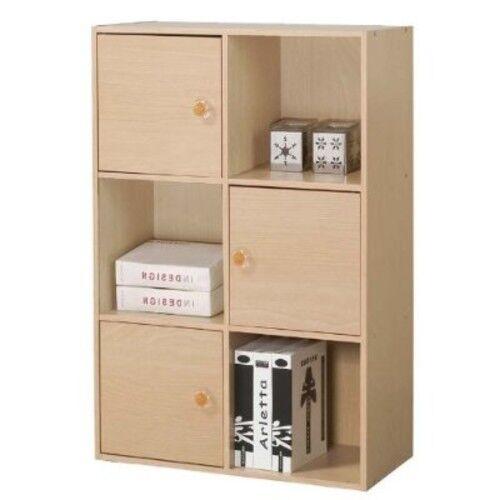 3-Tier Shelf with 3 Doors Cabinet Storage Wooden Bookcase Display Cube Organizer