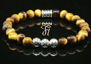Tigerauge-Armband-Bracelet-Perlenarmband-Silber-Beads-Buddha-braun-8mm