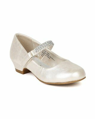 Little Angel Daisy-759E New Girl Round Rhinestone Strap Kiddie Heel Pump
