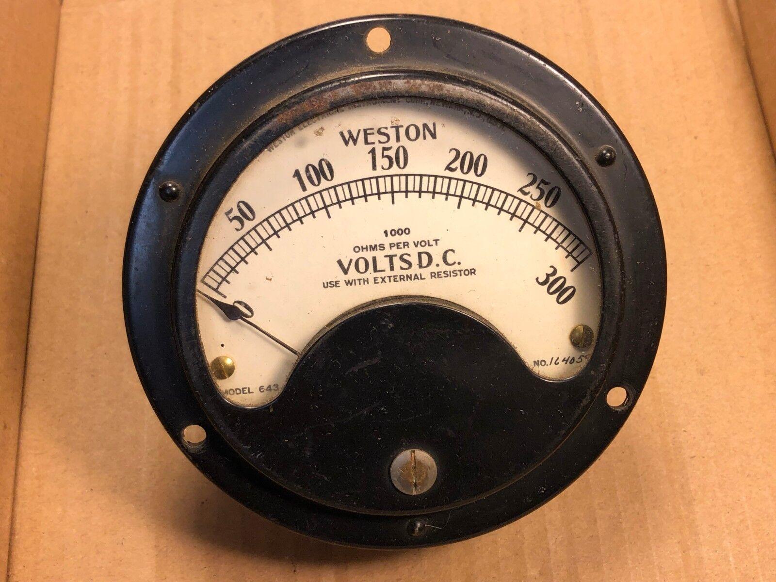 Large Antique Weston DC Volt Meter Measures 0-300 VDC Model 643 Gauge Guaranteed