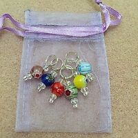 Hand Beaded millefiori Stitch Markers for Knitting or Crochet - Lovely gift