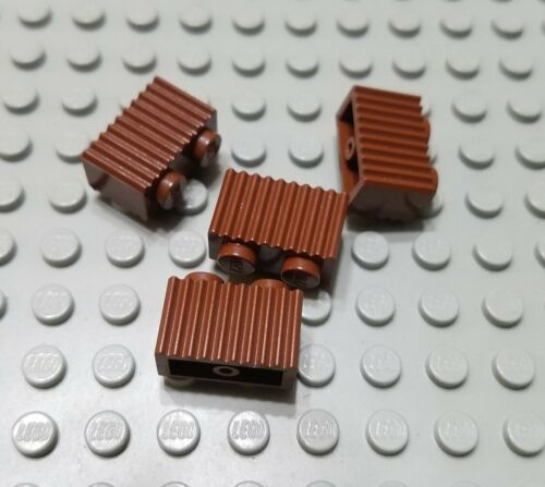 LEGO Lot of 4 Reddish Brown 1x2 Grill Profile Brick Pieces