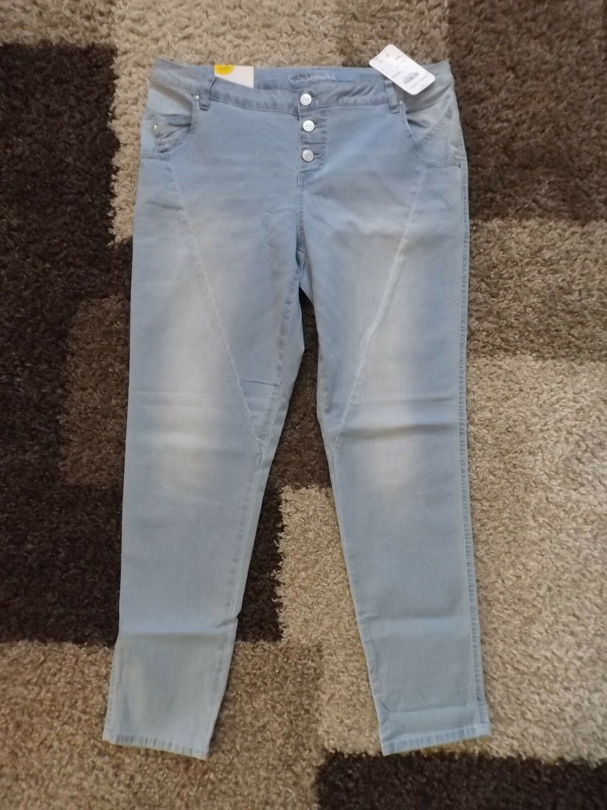 GINA LAURA  42 kurz  (K-Gr. 21) bluee bleached  Jeans geknöpft STRETCH