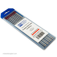 "TIG Welding Tungsten Rod Electrodes 2%Thoriated 1/8"" x 7"" (Red, WT20) 10PK"