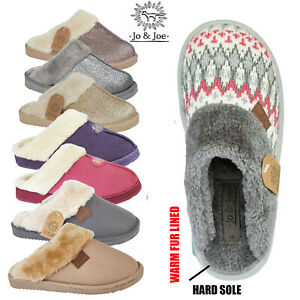 Ladies Women Fur Lined Slip On Mule Slippers Loafers Winter Warm Shoes Booties