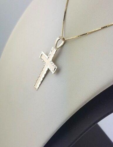 14K Solid Yellow Gold Cross Pendant Charm Diamond Cut Small Light Fine