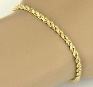 Image Is Loading 375 9ct Yellow Gold Rope Bracelet Las 2