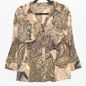 Apt-9-XL-Shirt-Top-Brown-Black-Paisley-Button-Down-Front-V-Neck-Stretch-Womens