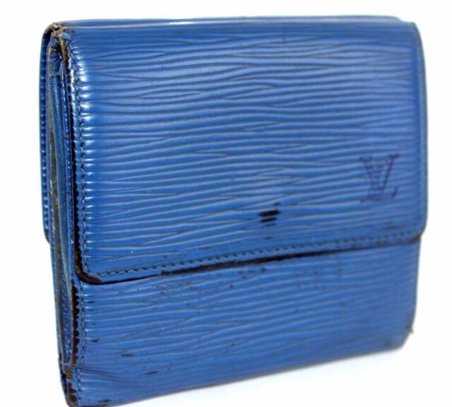 3273d758debba 100% Authentic LOUIS VUITTON Trifold Epi Blue Leather Mini Wallet Purse  France