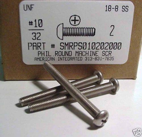 15 #10-32x2 Round Head Phillips Machine Screws Stainless Steel