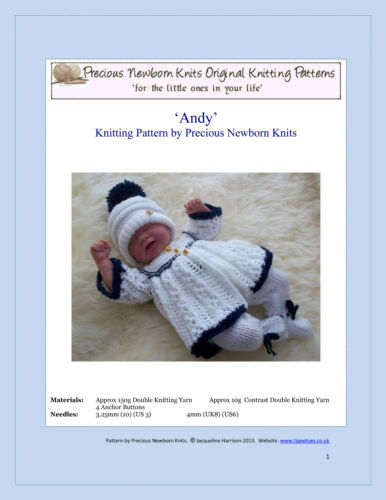 """Knitting Pattern  14-16/"""" TO KNIT Dolls Clothes Reborn Early Baby /'Andy/'  #37"""