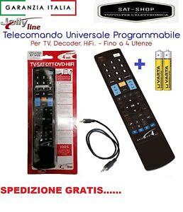 TELECOMANDO UNIVERSALE PROGRAMMABILE 4:1 PER TV DI TUTTE LE MARCHE + TIM VISION