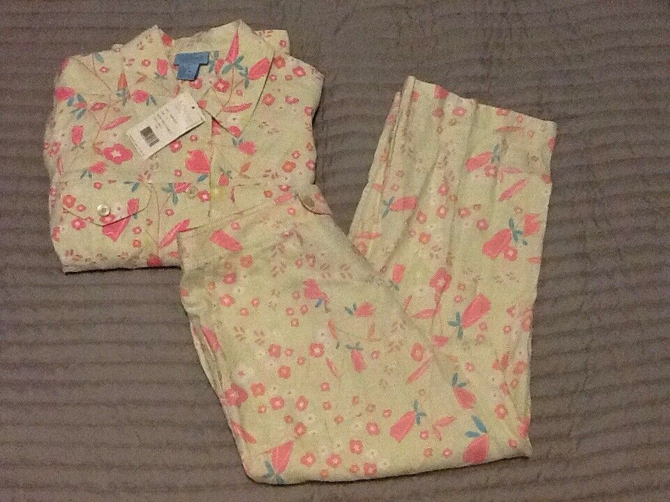 Sigrid Olsen SO bluee 100% Linen Floral Crop Capri Button Front Shirt Petite M