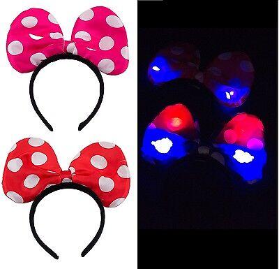 Festival LED Blinking Light Up Bow Minnie Headband Flashing Light Hair Band Blue