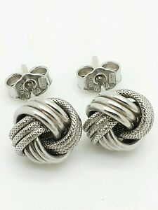 Heavy Sterling Silver 10mm Solid Knot Stud Earrings/Studs/Large xfHGm