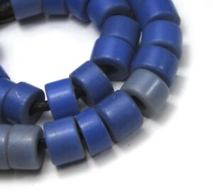 8-034-STRAND-OF-33-BLUE-CZECH-AFRICAN-TRADE-CYLINDER-ANTIQUE-BEADS