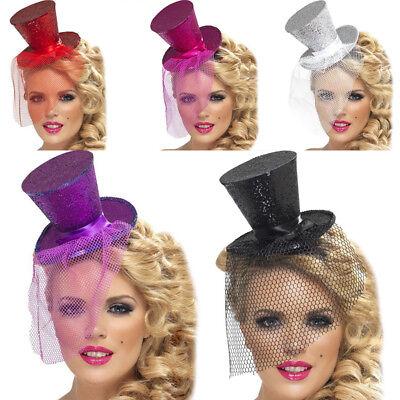 POP Hot Mini Glitter Sequins Top Hat Headband Veil Headwear Night Party Fancy