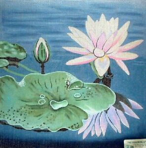 MZC-Oriental-Lily-Pads-amp-Flowers-HP-Hand-Painted-Needlepoint-Canvas