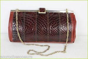 Serpent Dorée Pochette Sac Marron Vintage Tbe Façon Chaine qtvOSxzw