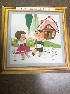Vintage-Birthday-Card-Hallmark-Hansel-Gretel-Card-Hanger-Frame-Wall-Hanging