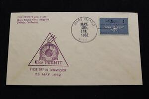 Navale-Cover-1962-a-Mano-Annullo-Postale-Commissioning-Uss-Permesso-SSN-594