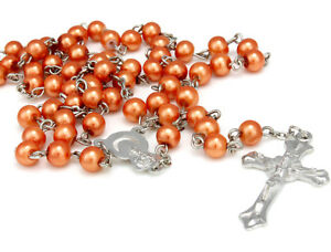 Golden-Red-Long-Rosary-Beads-Cross-In-Silver-Tone-Necklace-For-Women-Men-Girls