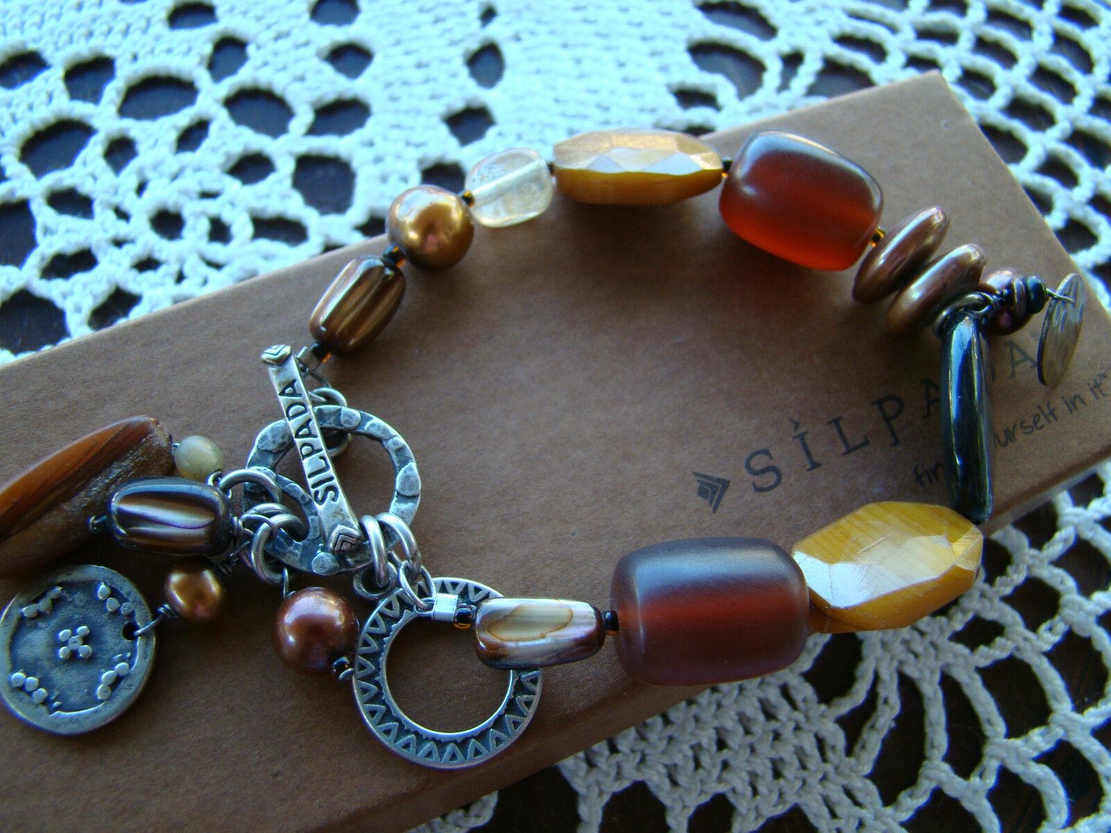 Silpada  Brass, Pearl, Horn, Shell, Bead Toggle Bracelet B1776 Retired   94