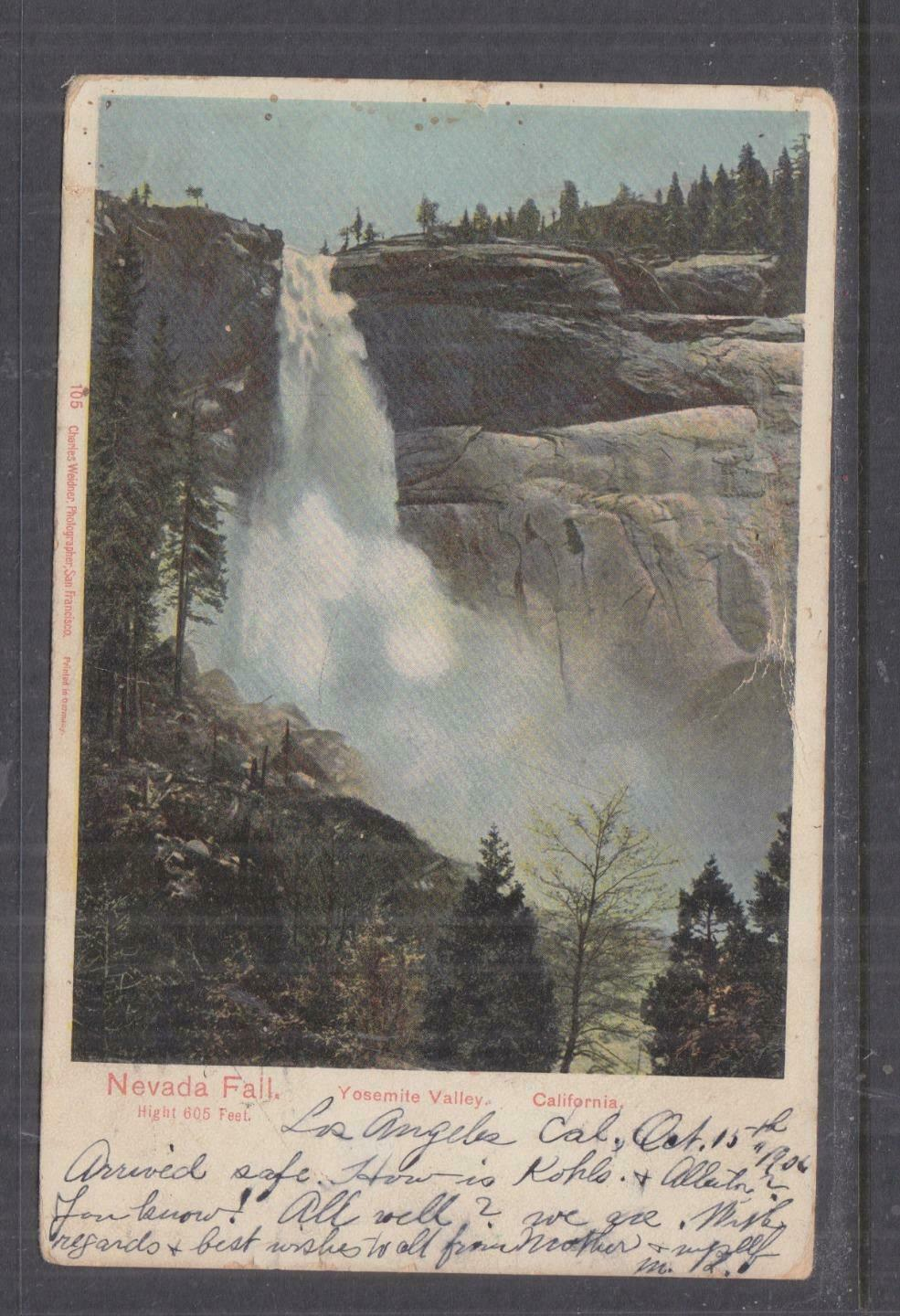 UNITED STATES,1906 ppc Nevada Fall,Yosemite Valley, 1c Los Angeles to West Bend