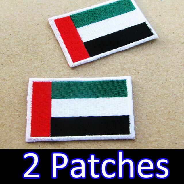 2 X United Arab Emirates Flag Embroidered Iron on Patch UAE Dubai Abu Dhabi  DIY