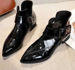 Womens-Ankle-Boots-Pointy-Toe-Slip-On-Patent-Leather-Buckle-Low-Block-Heel-Size