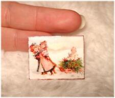* Tolles Miniaturen Schild / Bild / Poster 1:12 * Mädchen mit Schlitten & Baby