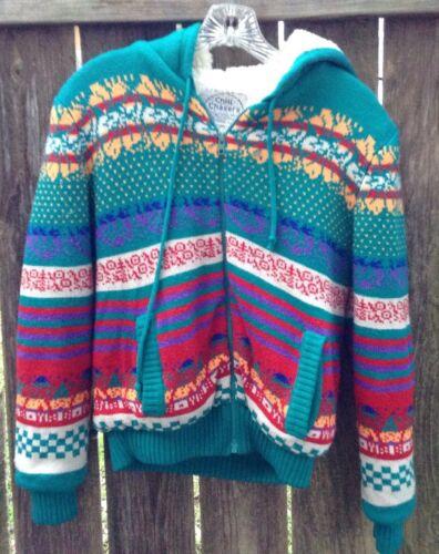 Vtg 80s Fair Isle Hoodie Sweater Jacket Nordic Fai