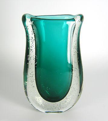 Seguso Sommerso Glas Vase Flavio Poli Design Italy Venetian Glass FAT  ca. 20cm