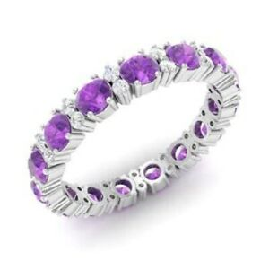 1-95-Ct-Amethyst-Wedding-Eternity-Band-14K-Solid-White-Gold-Diamond-Rings-Size-N
