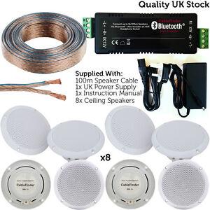 Wireless-Bluetooth-Amplifier-amp-8x-80W-Ceiling-Speaker-Kit-Home-Hi-Fi-Amp-System