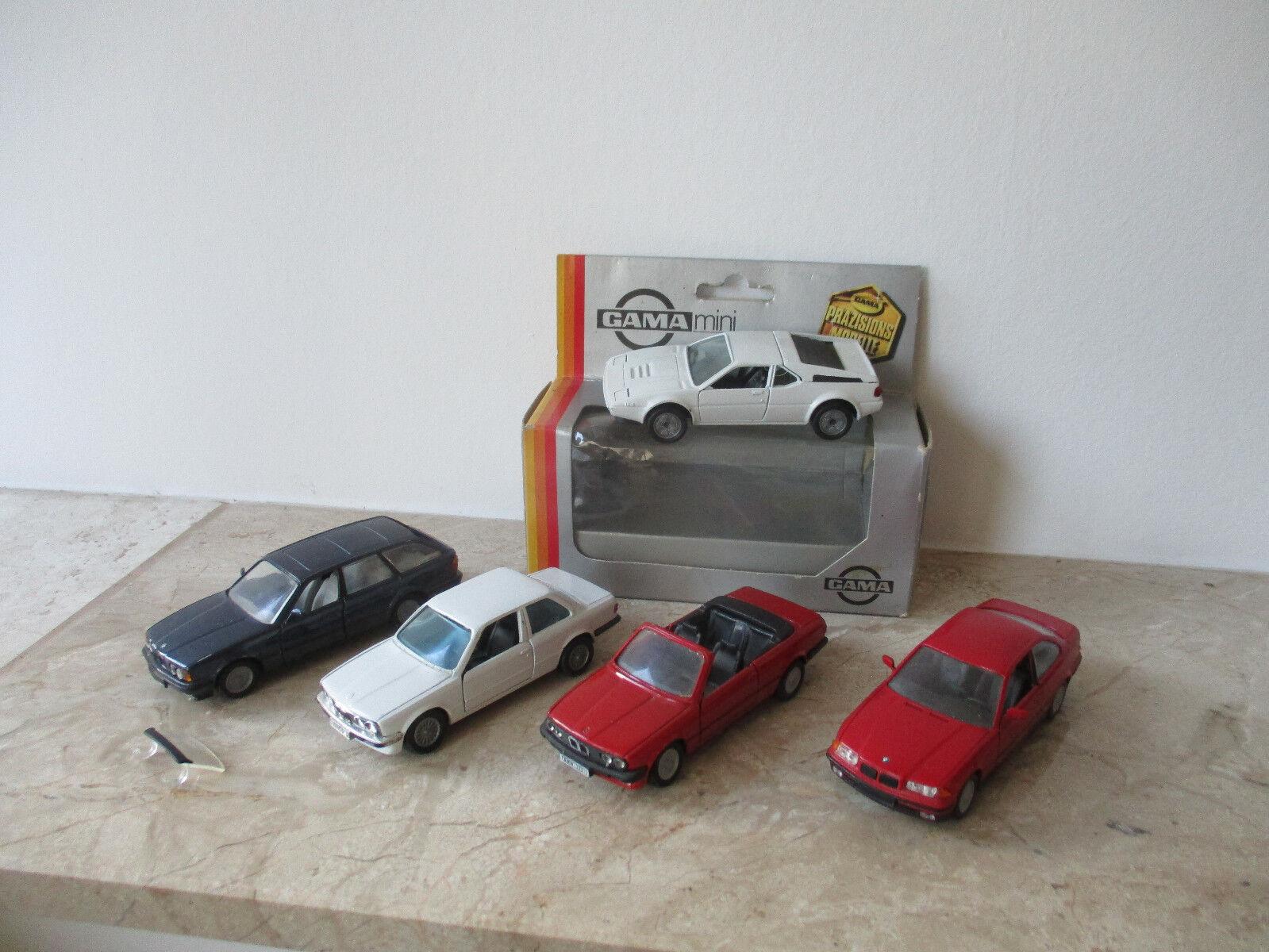 5 x Model Car GAMA BMW 3x 325i, BMW 525i and BMW M1 Scale 1 43 1x OVP