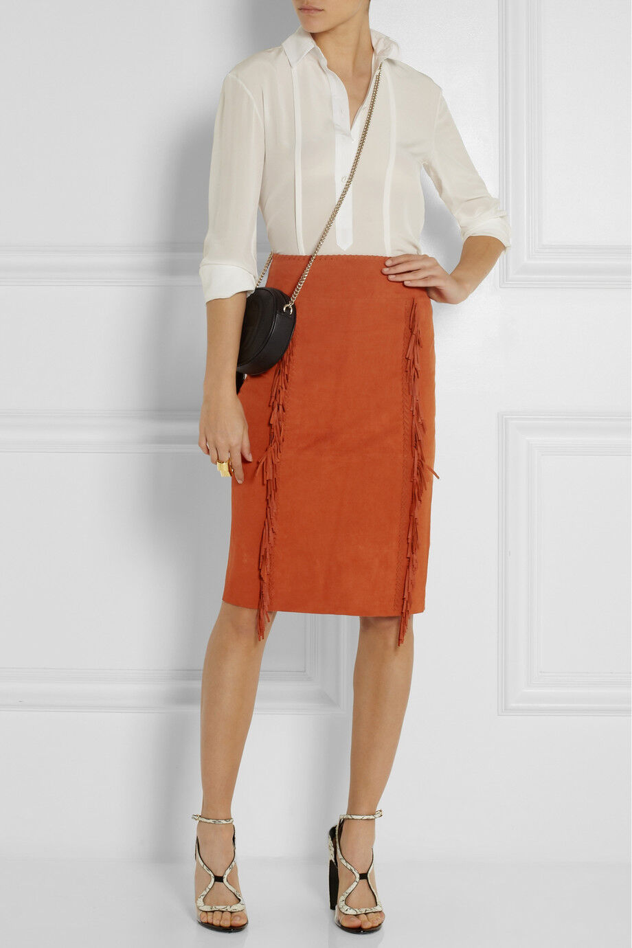 895 NEW Tamara Mellon Fringed Stretchy SUEDE Pencil Skirt Burnt Orange Fringe 2