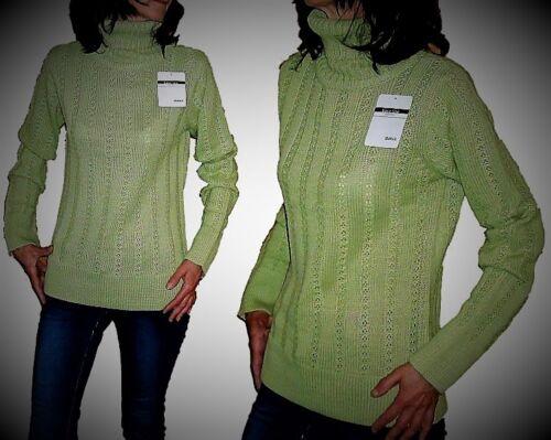Moderner Damen Rollkragen Pullover Gr 36-44 Basic Line Strickpullover grün