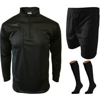 Referee Kit - Mens Long Sleeve Top / Shorts / Socks Set Football Refs Referees