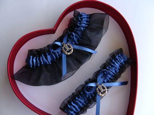 NEW Gorgeous Antique Blue Black Wedding Garter Prom Farm Cowgirl HorseShoe