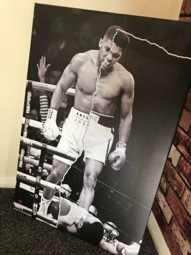 Muhammad Ali//Anthony Joshua Poster or Canvas half /& half Boxing wall Art Sports