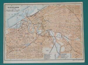 CLEVELAND-Town-Plan-Ohio-1909-MAP-Baedeker-6-x-8-034-15-x-20-cm