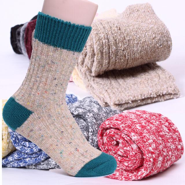 [5+1] CHOICE! Women's Winter Thermal Socks Cozy Angora knit Wool Thick Cotton