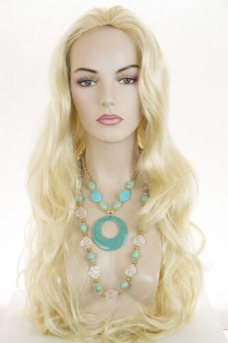Light Pale Blonde Blonde Long Skin Top Wavy Straight Wigs