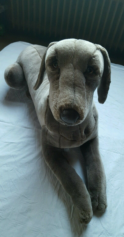 Weimaraner Plüsch Hund handgemacht von Piutre in Italien NEU