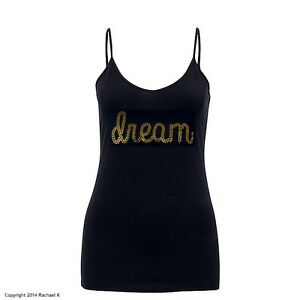 New-Sexy-Plus-Size-Crystal-Design-Dream-Gold-Black-Singlet-Top-By-Rachael-K