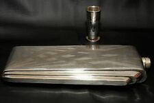 Beautiful Art Deco Sterling Silver Flask Collapsible Shot Top, Engraved Design