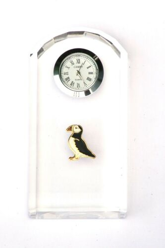 Puffin Enamel Design Glass Clock Bedside or Desk Top Cliff Bird Gift Boxed