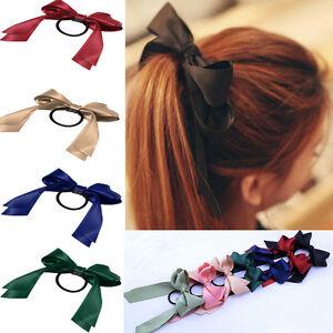 Image is loading Ponytail-Holder-Multicolor-Bow-Elastic-Rope-Scrunchie-Hair- ea25d025e70