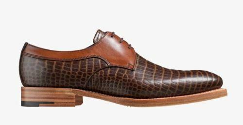 Hecho A Mano Para Hombre Dos Tonos De Marrón Cocodrilo Print & tan Formal Zapatos Derby